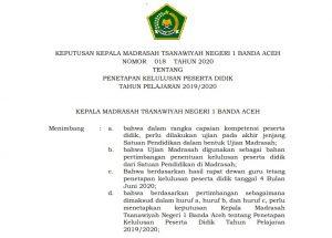 Permalink to:Pengumuman Kelulusan Siswa Kelas IX MTsN I Model Banda Aceh Tahun Pelajaran 2019-2020